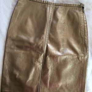 NWT, Club Monaco gold leather skirt